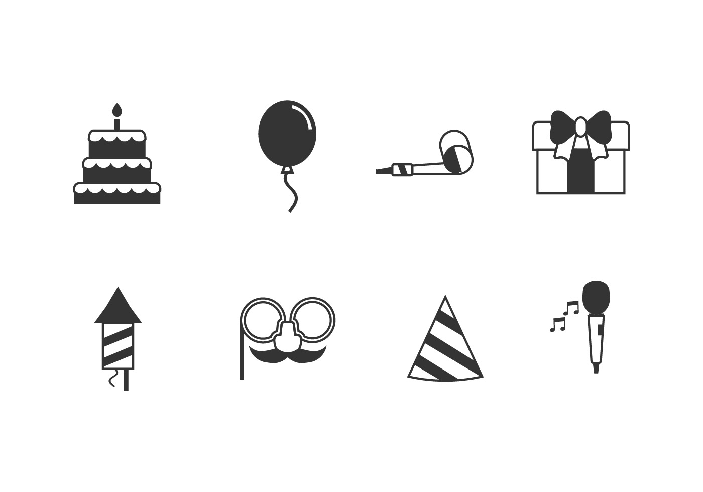 Birthday Party Set Icons