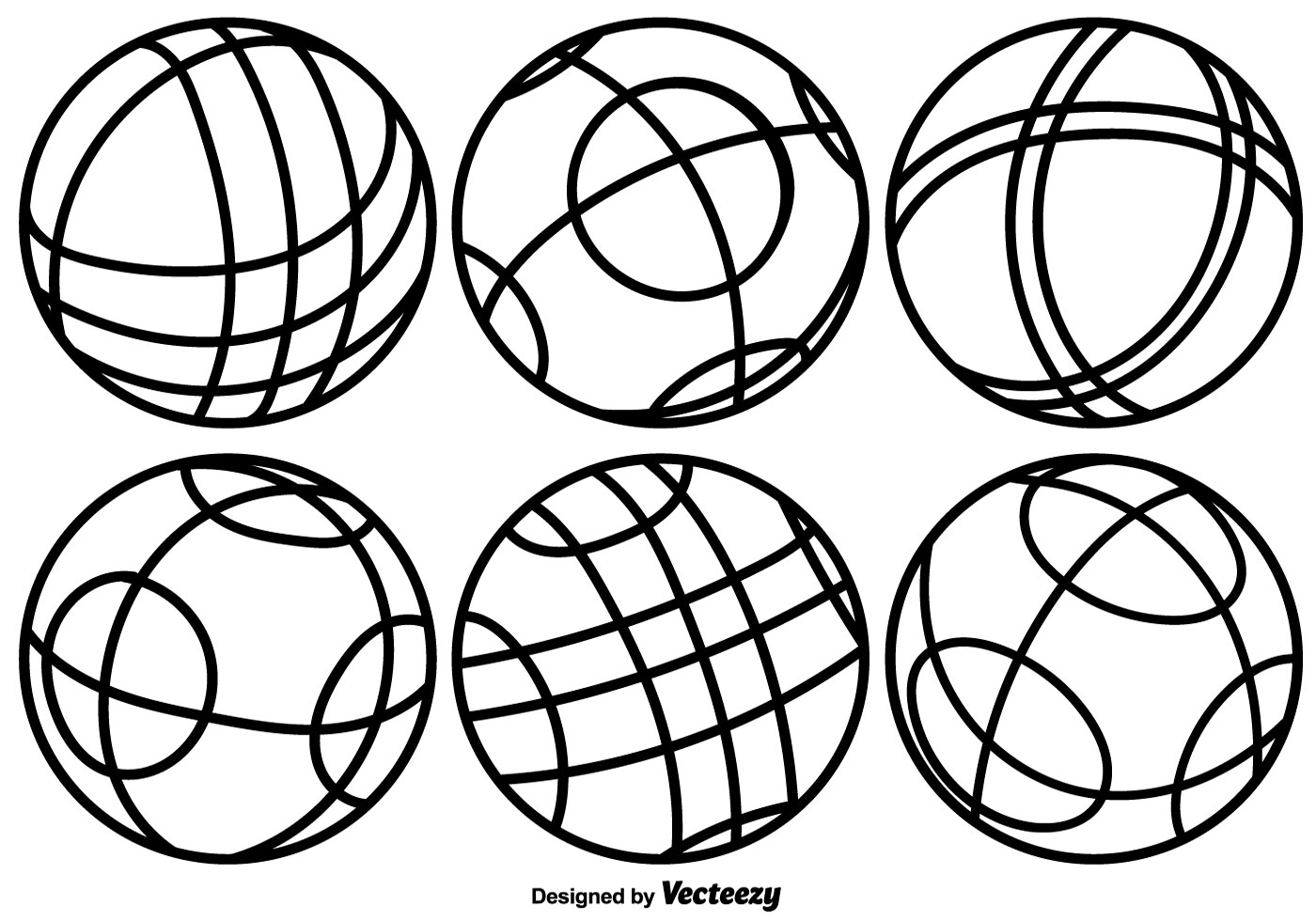 Vector Bocce Balls Line Icons