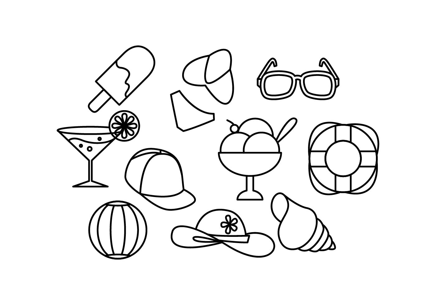 Free Summer Line Icon Vector