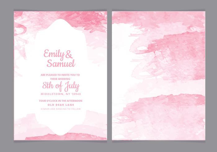 Watercolor Vector Wedding Invitation