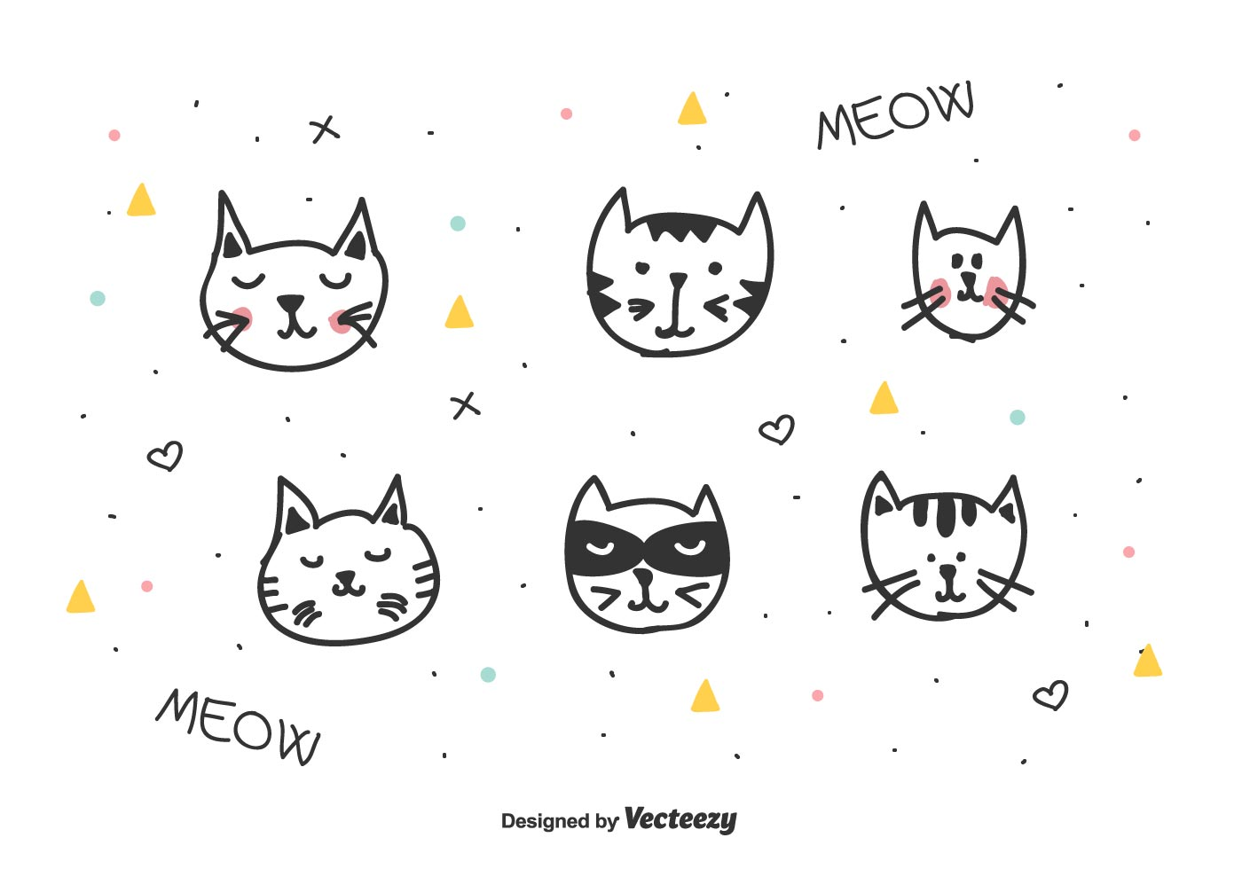 Cats Heads Vector