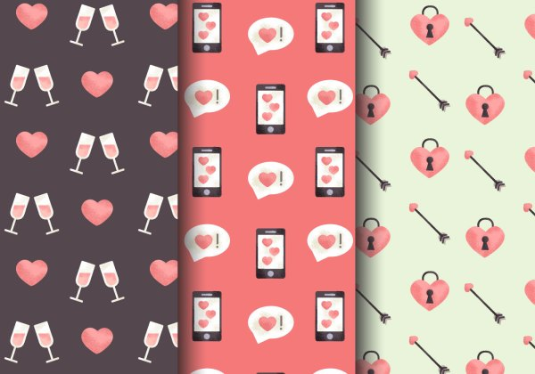 Free Cute Valentines Day Patterns Download Free Vector