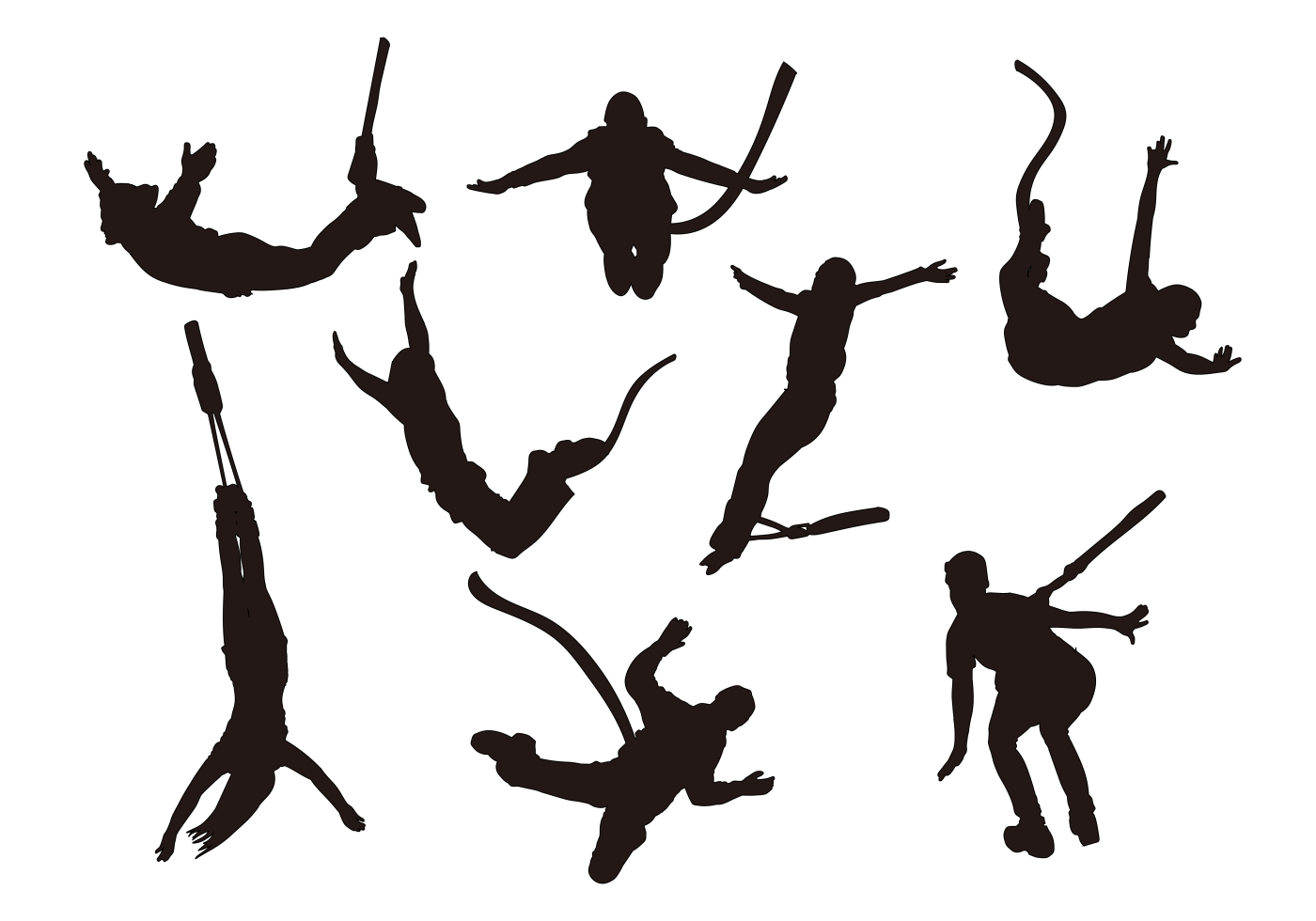 Bungee Jumping Silhouettes Vector