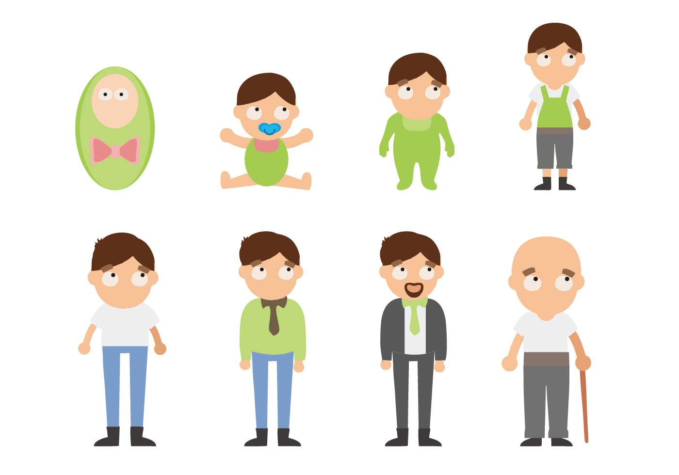 Free Man Lifecycle From Birth To Old Age Vector