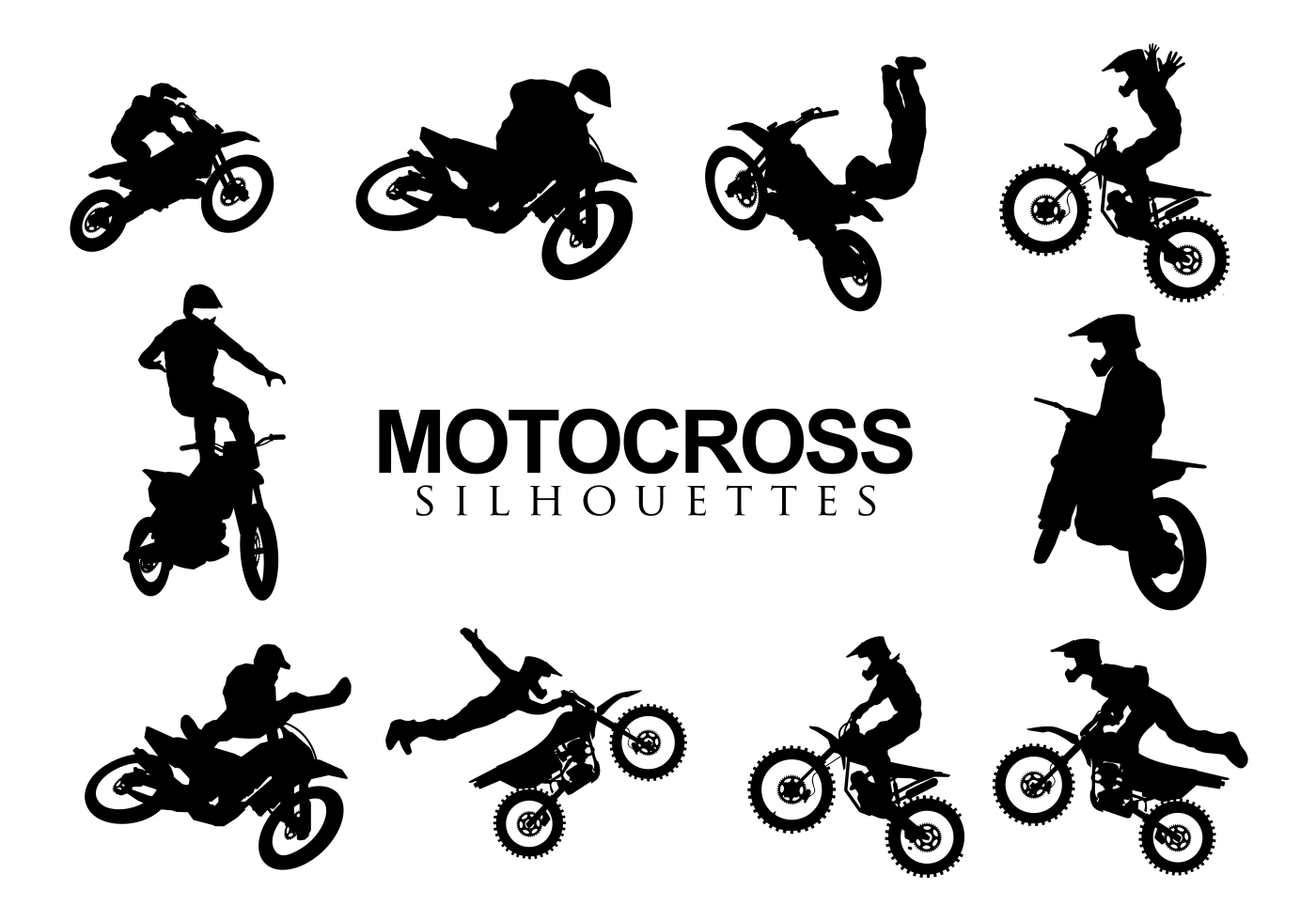 Motorcross Silhouettes Vector