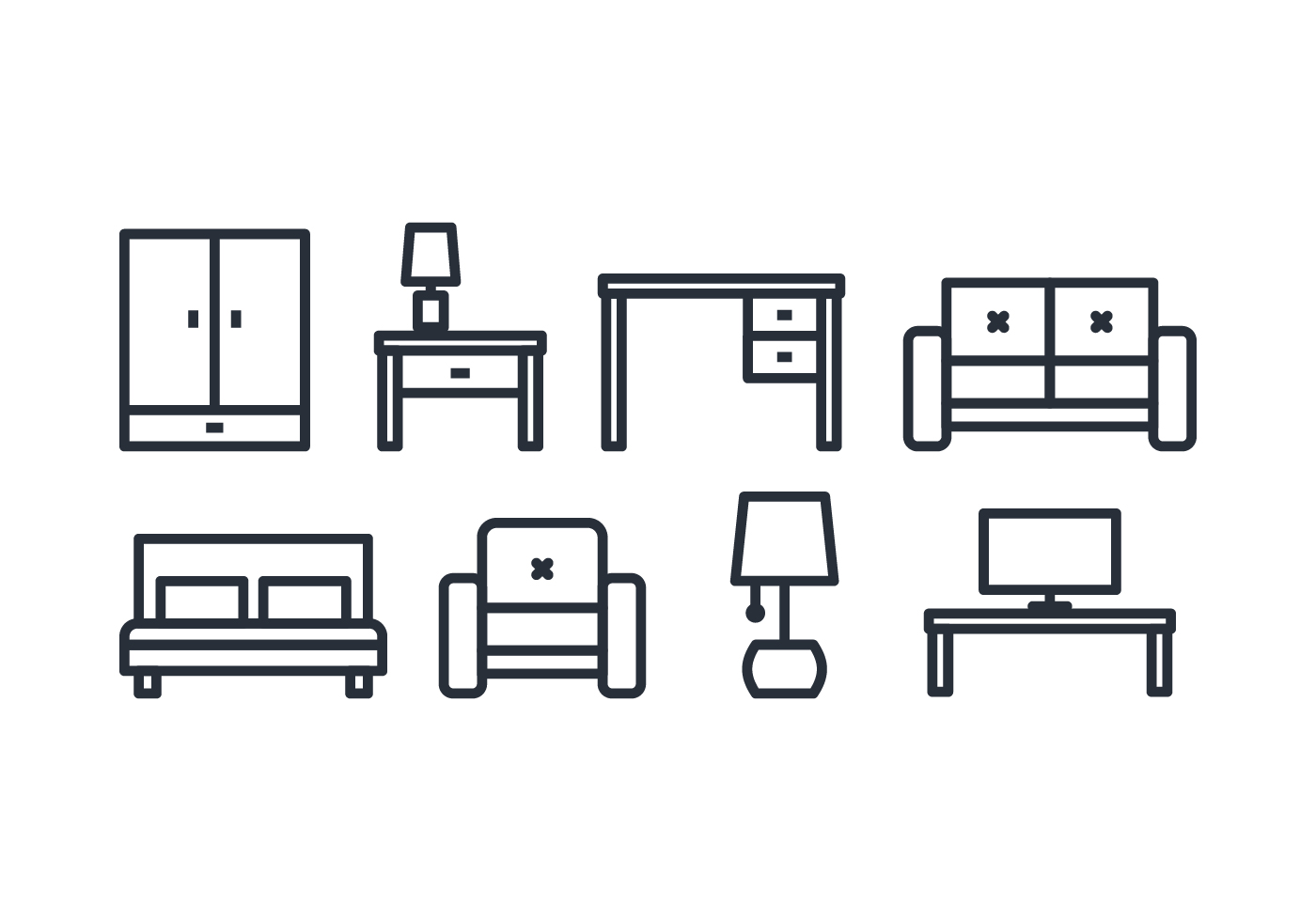 Isometric Furniture Icons Free Vector Art