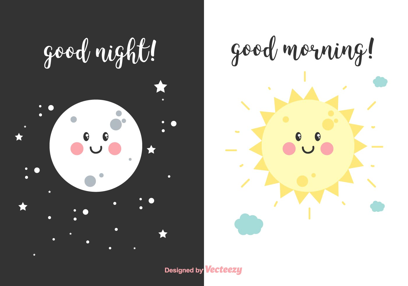 Night And Morning Vector Cards Download Free Vector Art