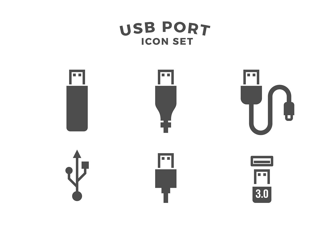Puerto Usb Icon Set Vector Libre