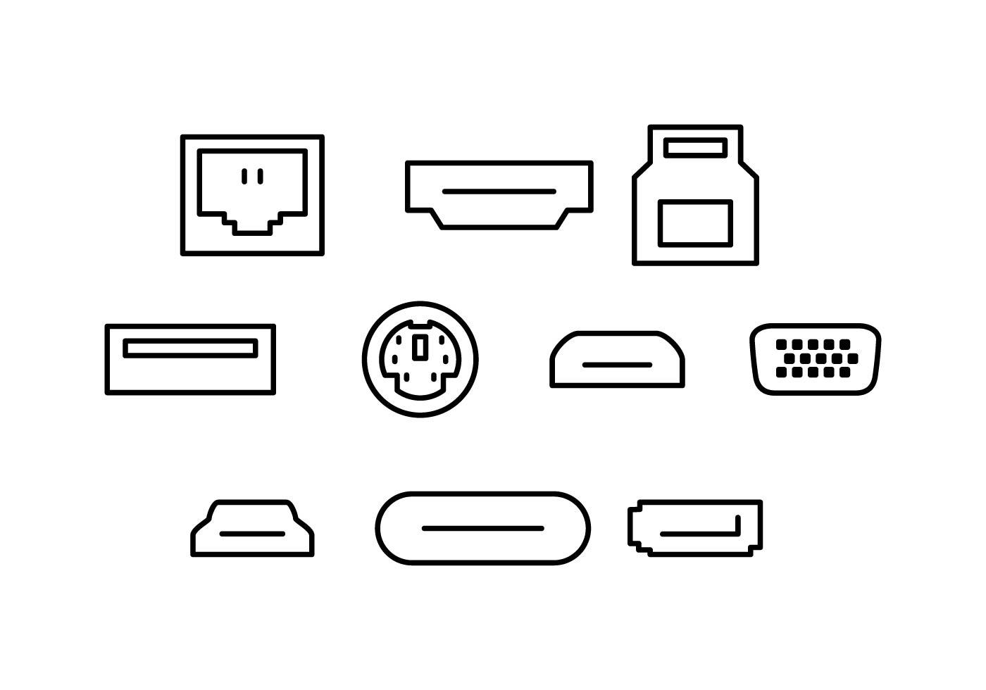 Free Computer Port Line Icon Vector