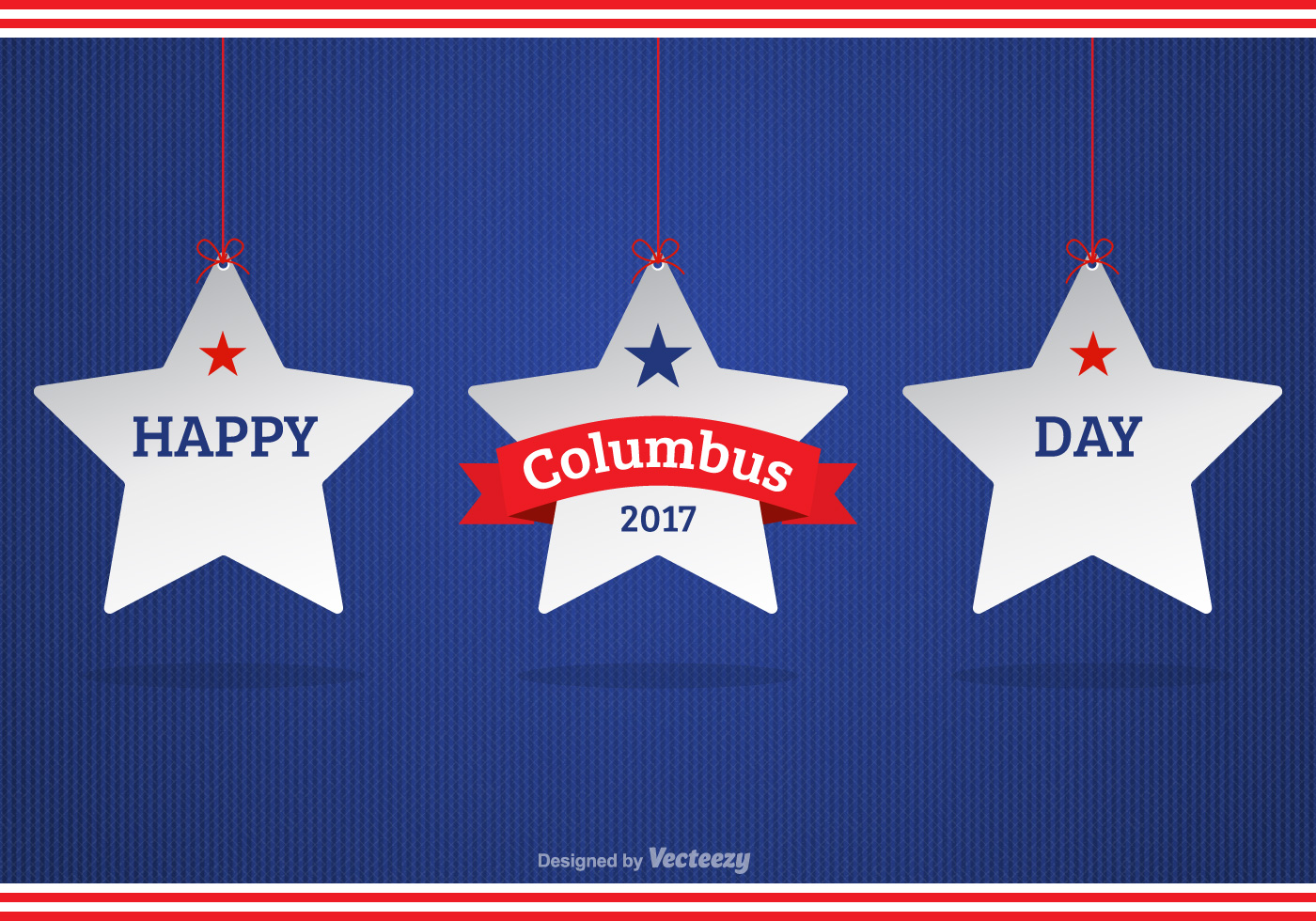 Happy Columbus Day Background With White Hanging