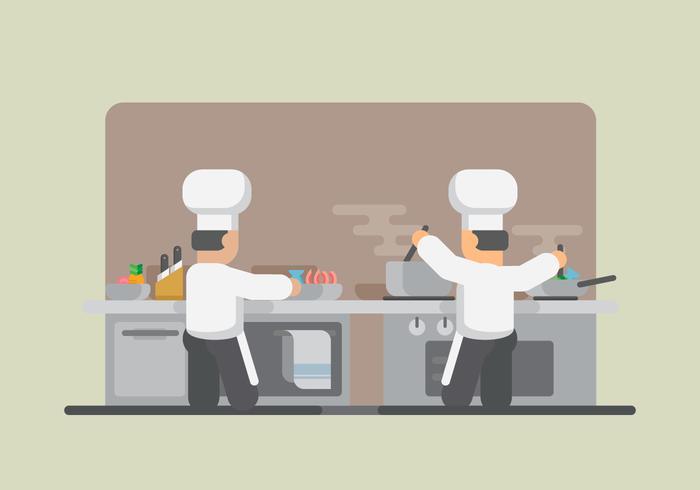Prawns Cooking. Restaurant Illustration. Chef cooking. - Download ...