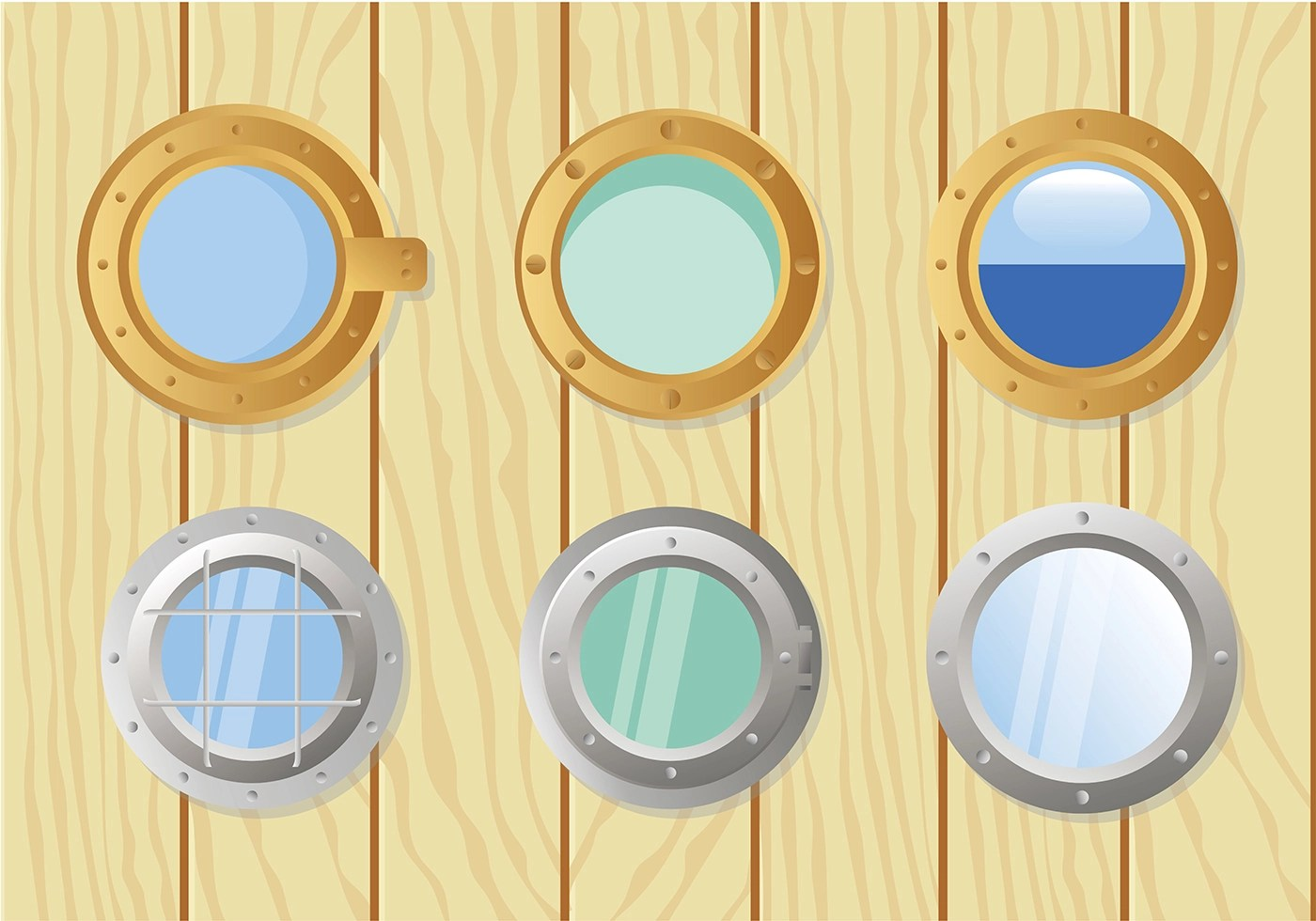 Ship Windows Set Free Vector