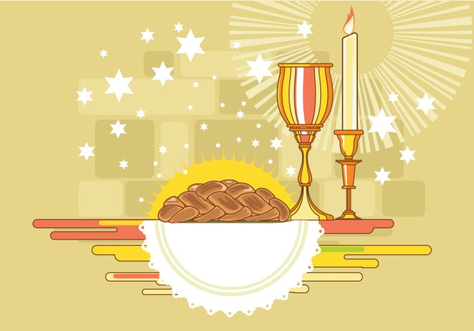 Shabbat Image with Challah Bread Vector - Download Free