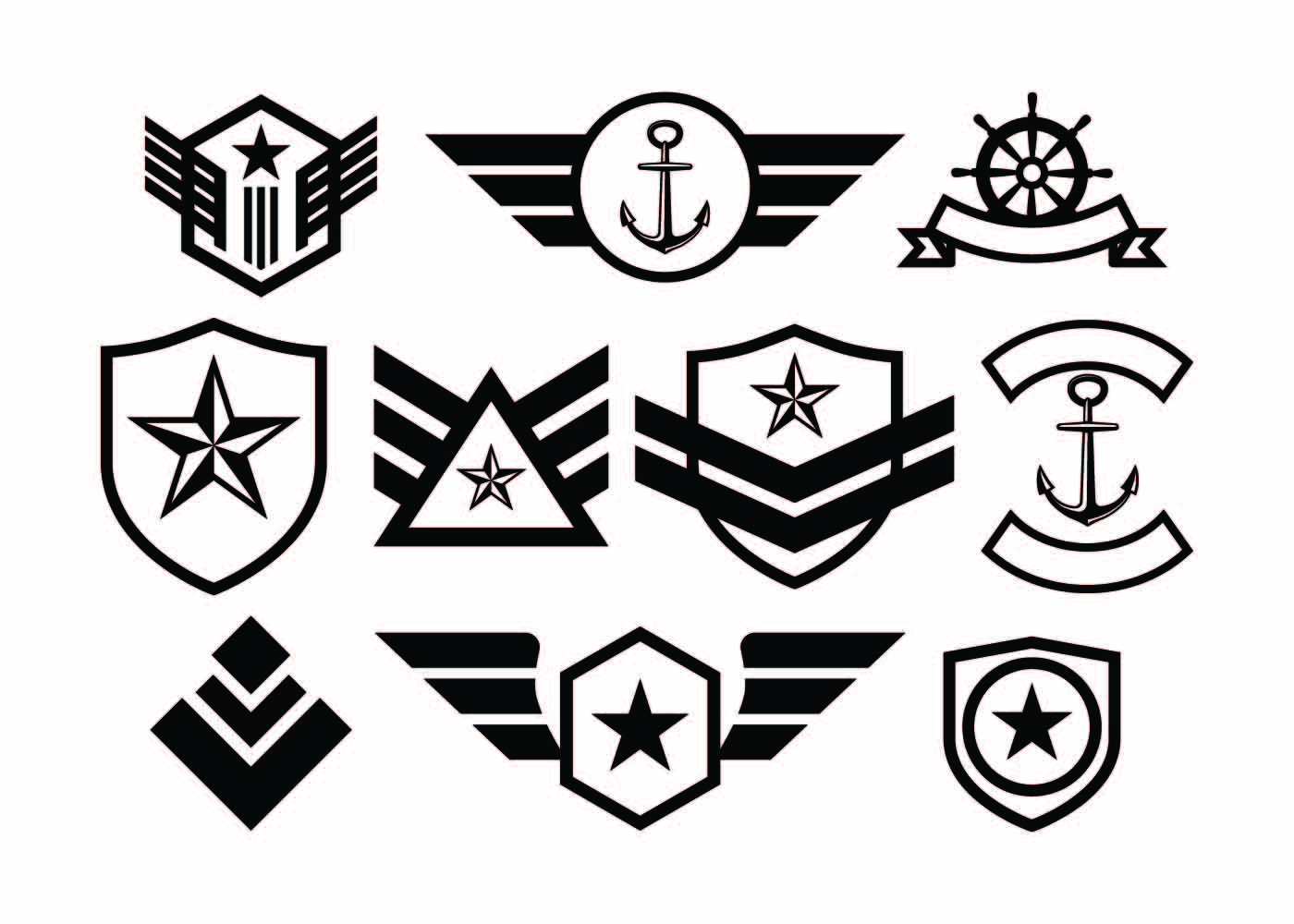 Free Military Badge Collection Vector