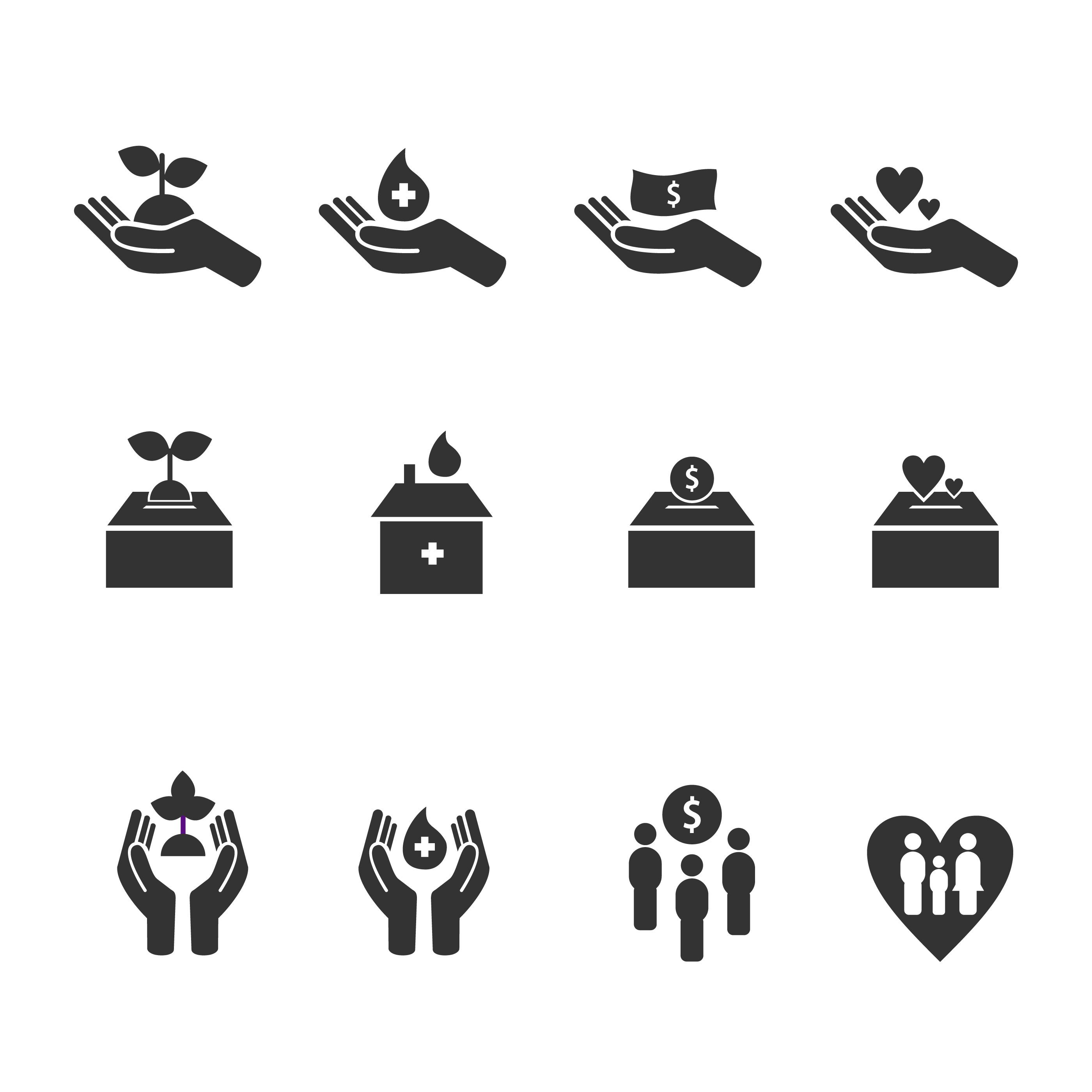 Icones De Vetor De Bondade E Cuidado