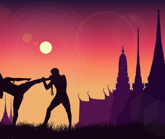 Muay Thai Siilhouette Free Vector