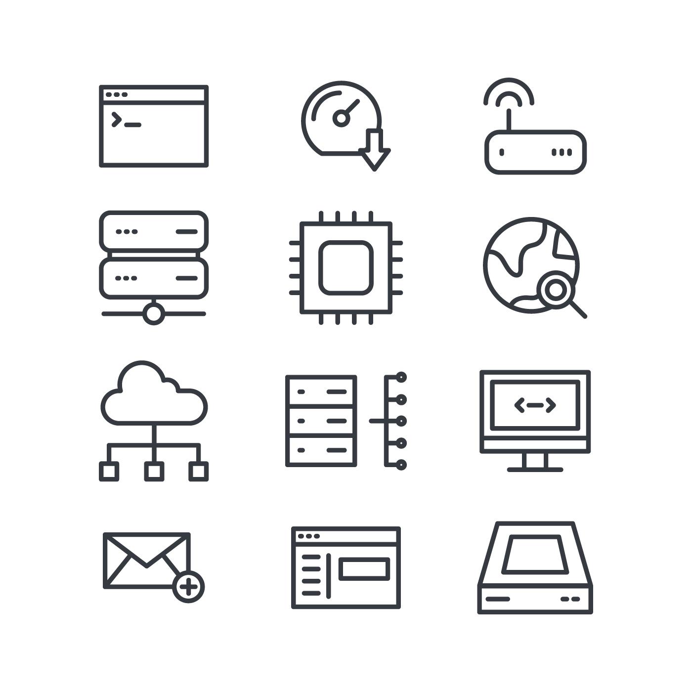 Black Amp White Domain Icons