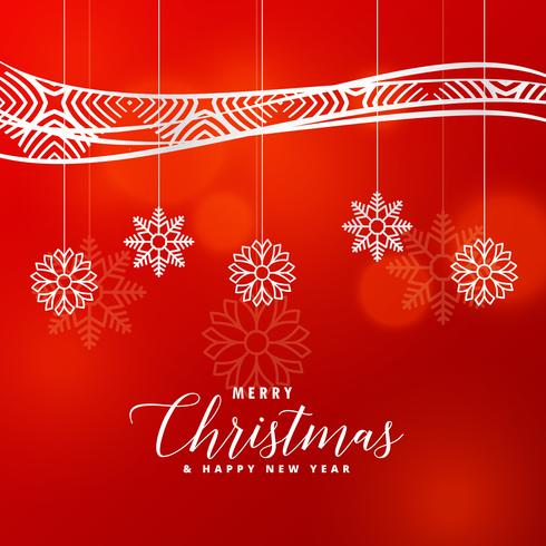 Christmas Greeting Card Design With Creative Snowflakes