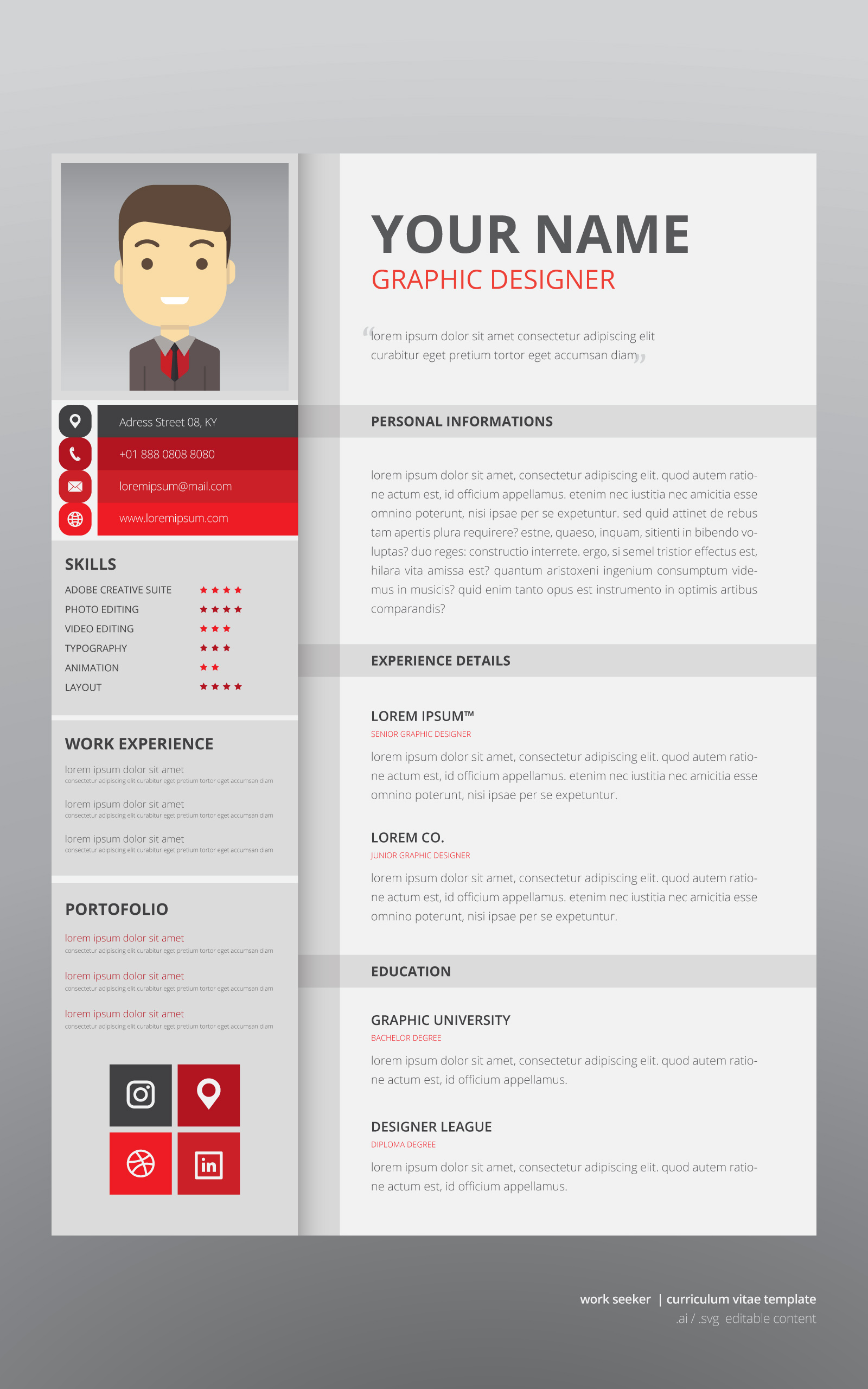 Job Search Curriculum Vitae Template Download Free Vector Art Stock Graphics Images