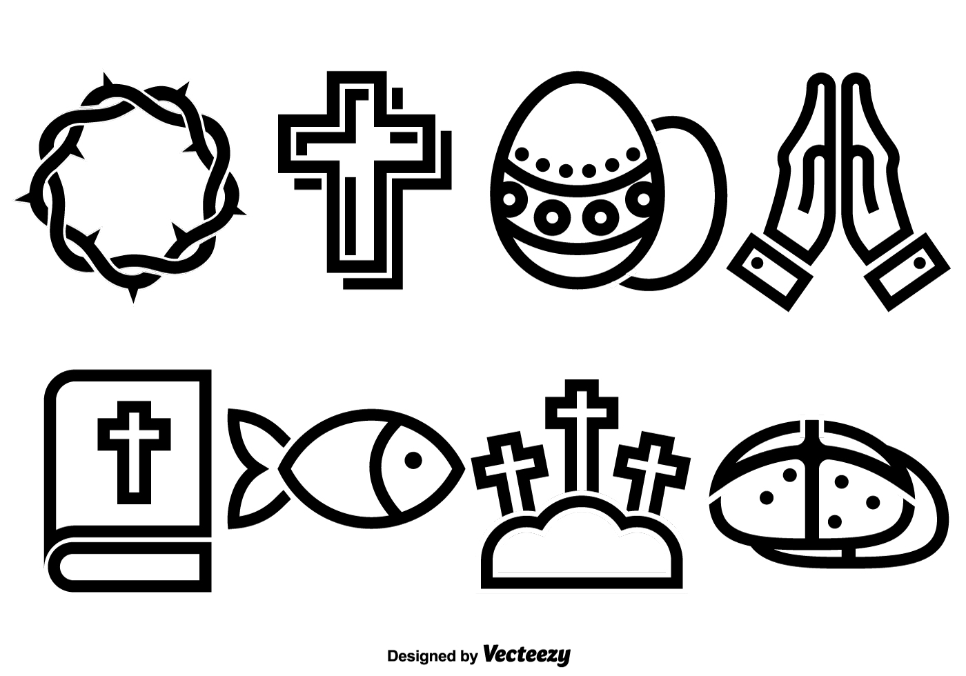 Vector Set Of Flat Icons For Lent And Easter