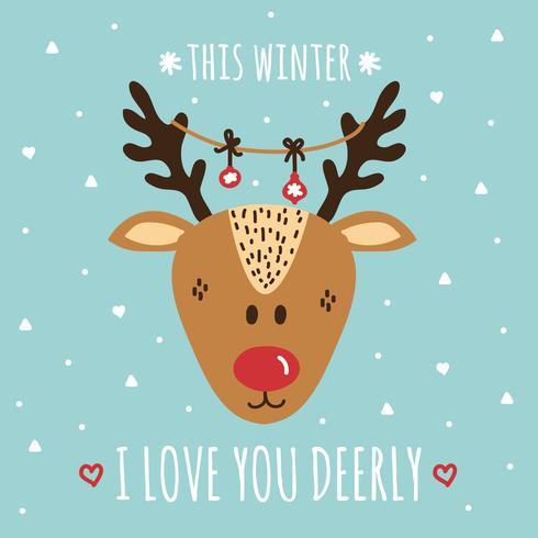 Download I Love You Deerly Vector Card - Download Free Vectors ...