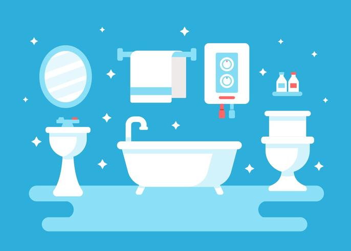 Bathroom With Water Heater Vector Download Free Vector Art Stock Graphics Amp Images