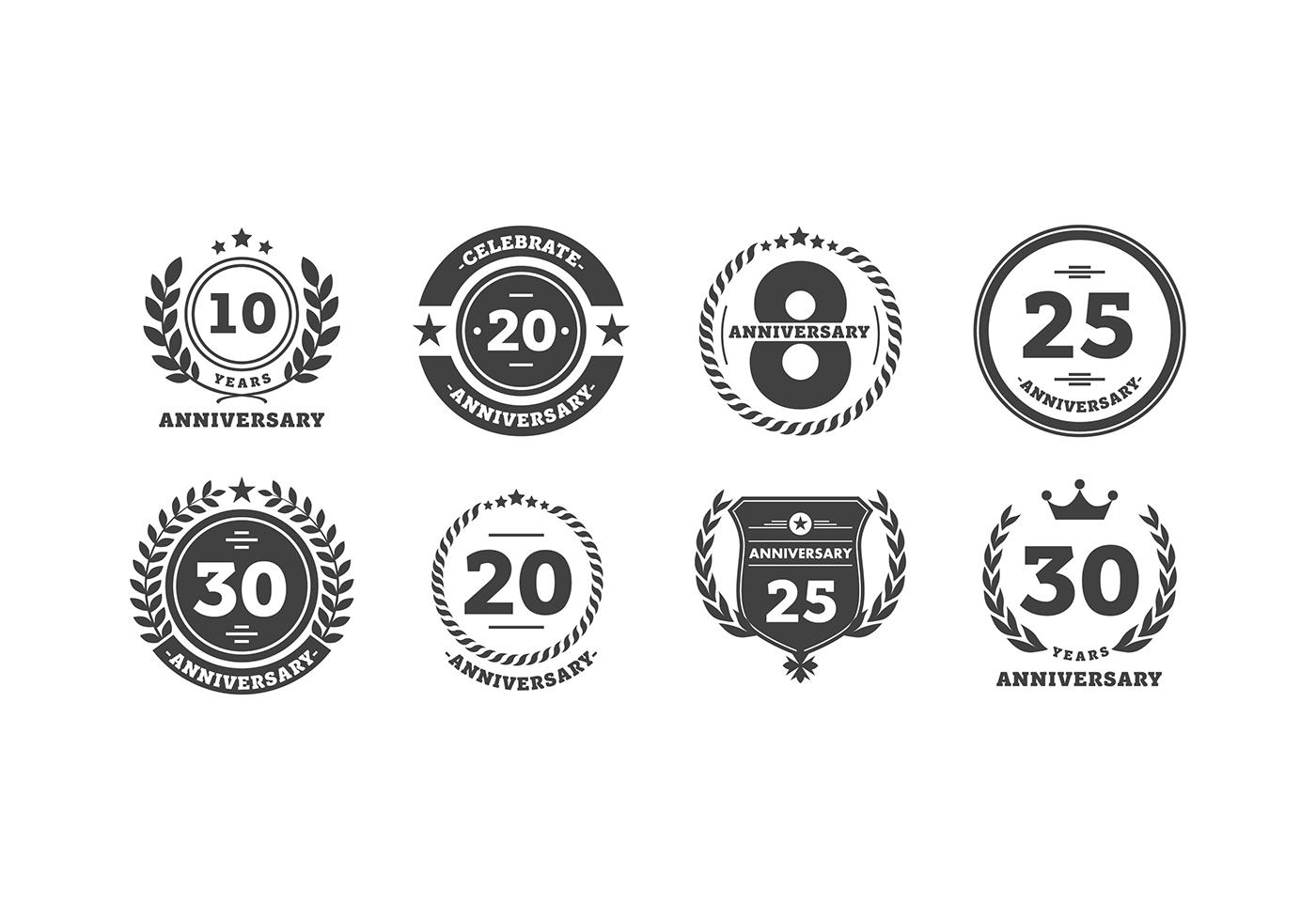 Anniversary Logo Bw Free Vector