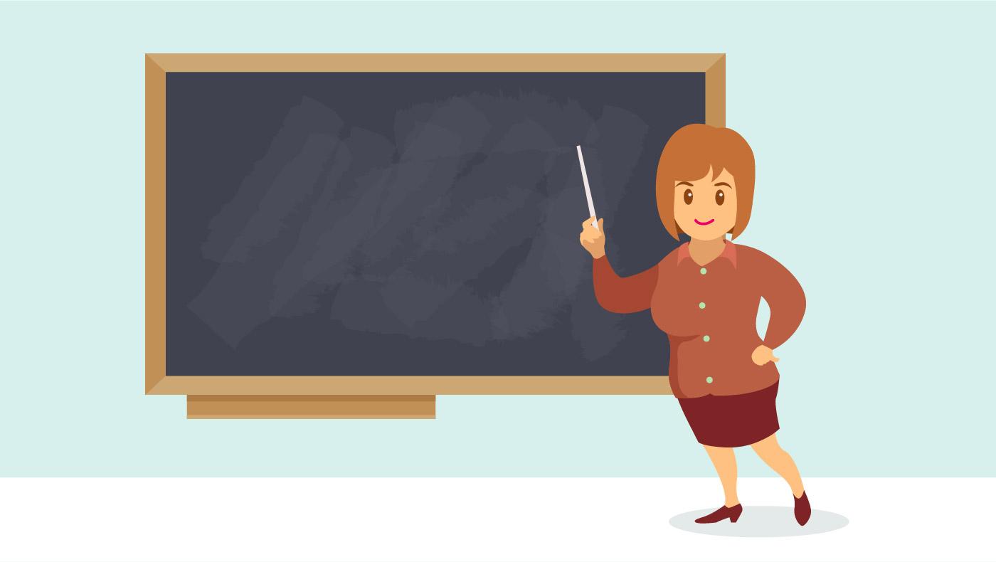 Frau Lehrer In Der Front Der Klasse