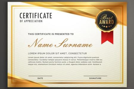 golden certificate template design vector   Download Free Vector Art     golden certificate template design vector