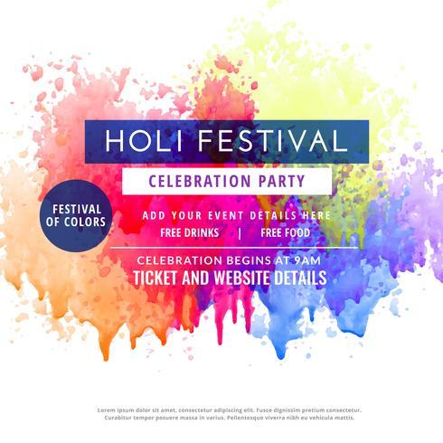 Happy Holi Party Invitation Template Flyer