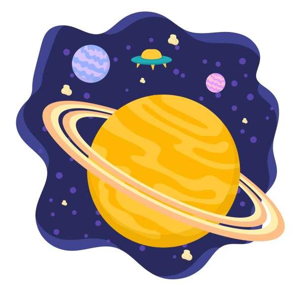 Saturn Planet Flat Background - Download Free Vectors ...