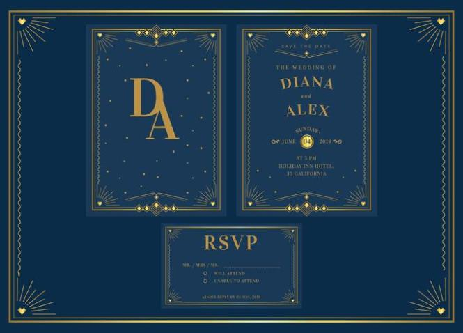 Elegant Blue Gold Pack Art Deco Wedding Invitation Template Vector