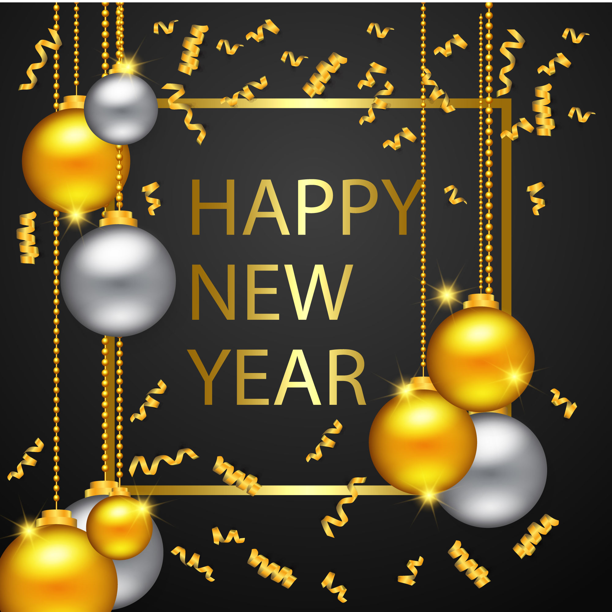 Happy New Year Gold And Black Colors Download Free