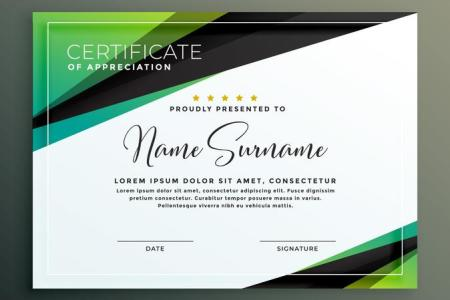 certificate template design in green black geometric shapes     certificate template design in green black geometric shapes
