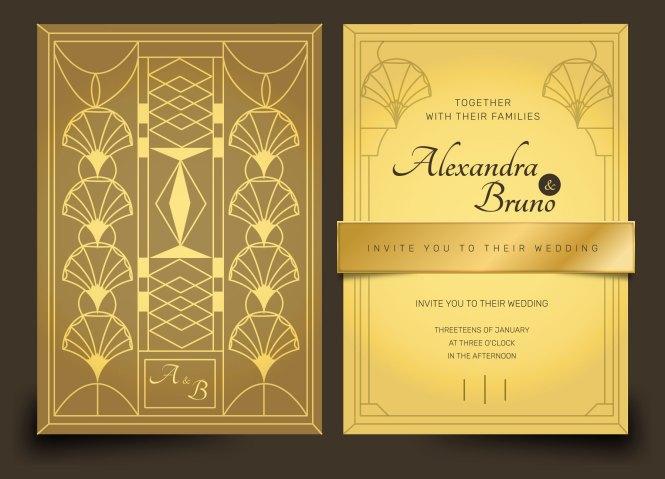 Gold Luxury Art Deco Wedding Invitation