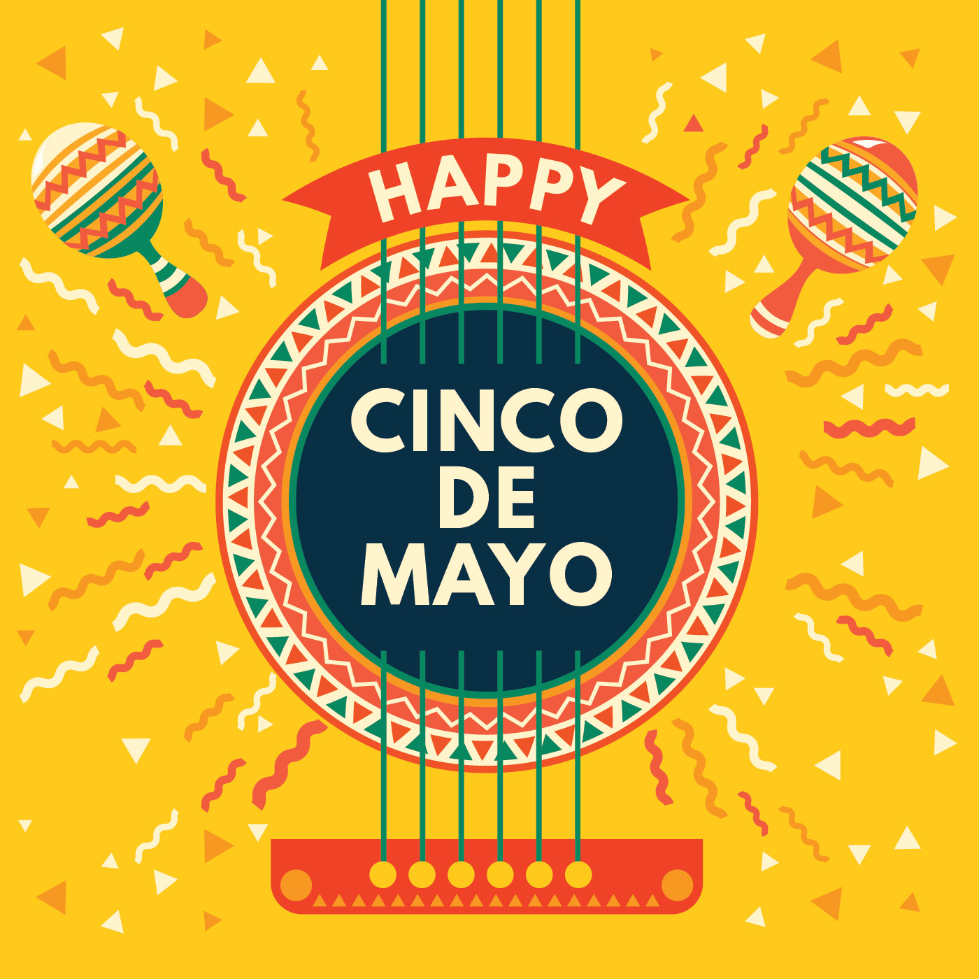 Cinco De Mayo Mexican Greeting Card With Acoustic Guitar