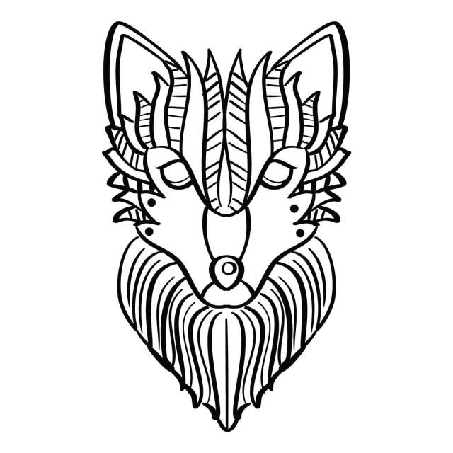 Wolf Coloring Page 23 Vector Art at Vecteezy