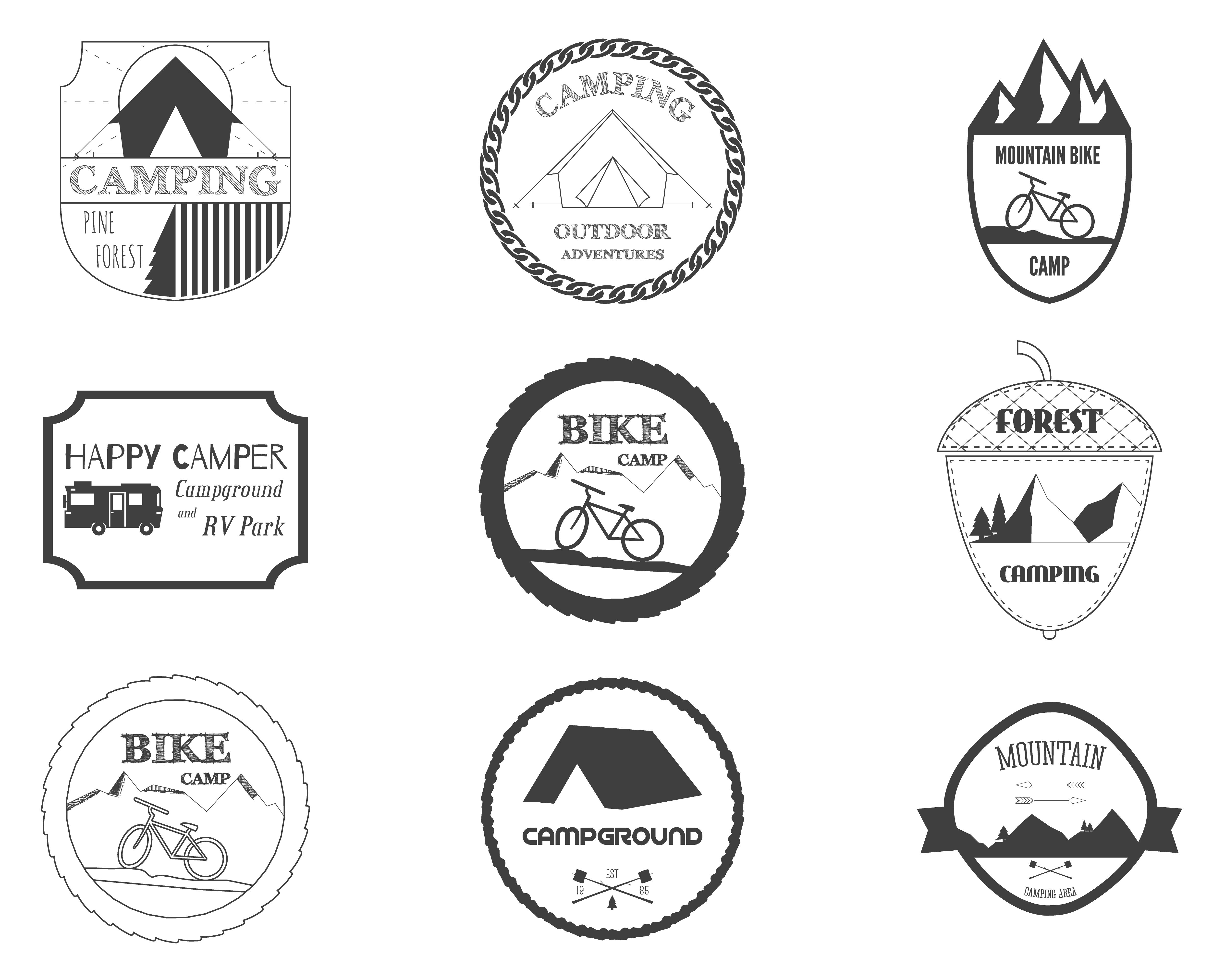 Set Of Retro Badges And Label Logo Graphics Camping