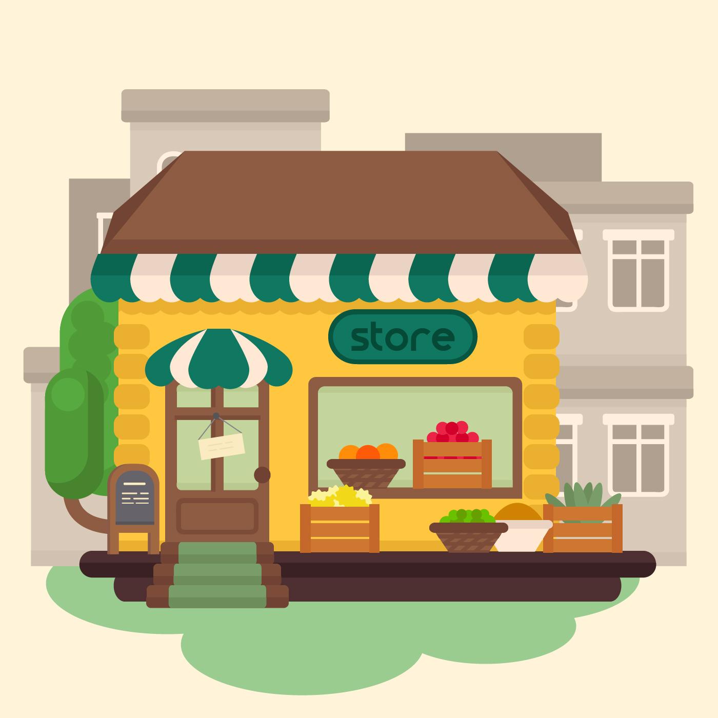 Vector Grocery Store Building Download Free Vectors Clipart Graphics Vector Art