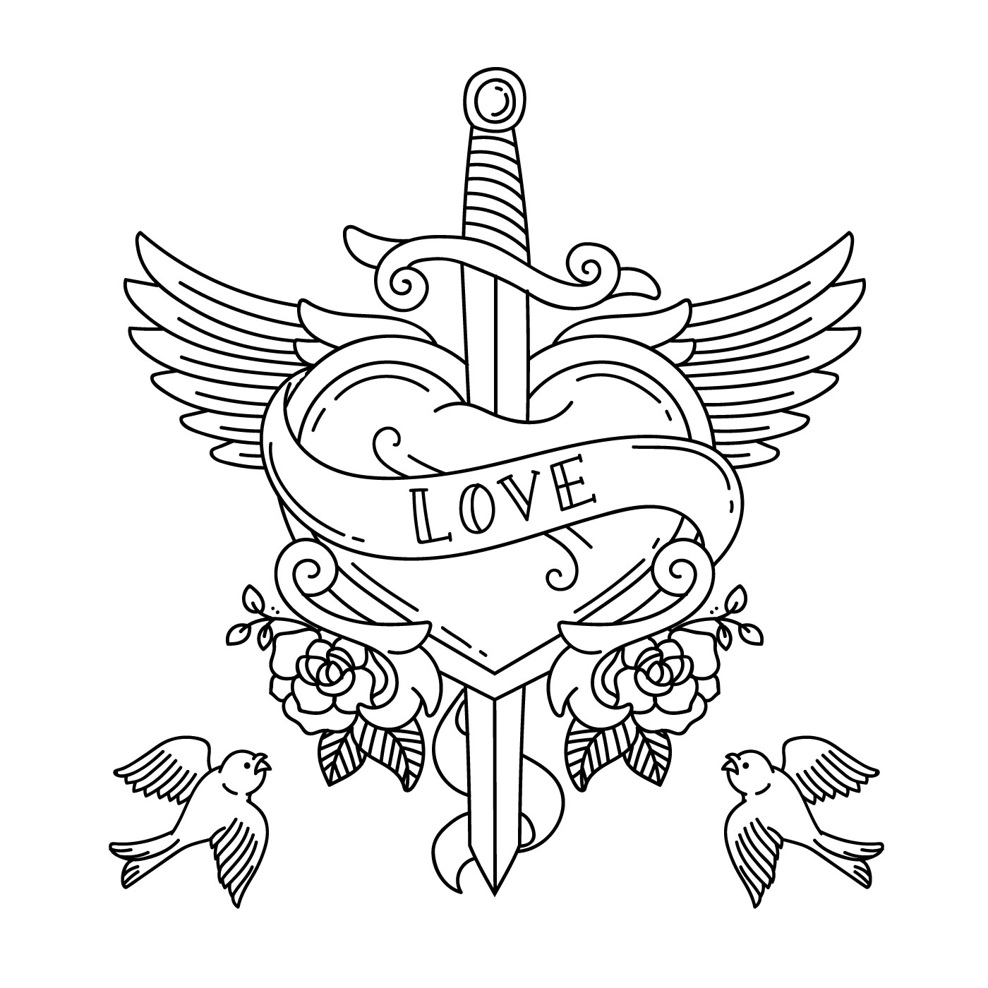 Heart Tattoo With Wings And Knife