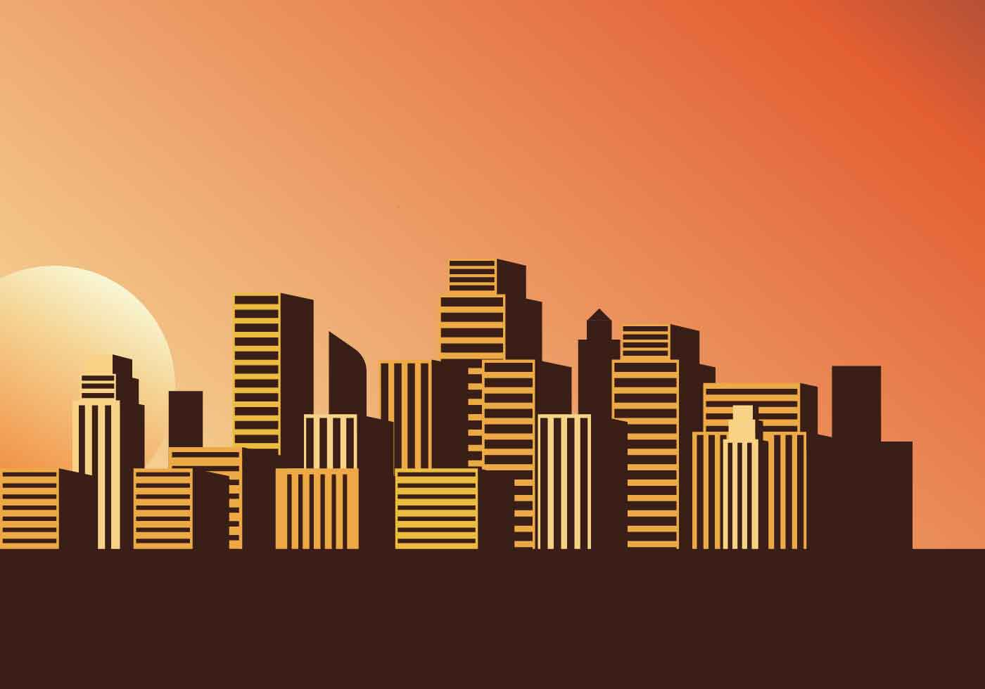 Cityscape Sunset Vector Illustration Download Free Vector Art Stock Graphics Amp Images