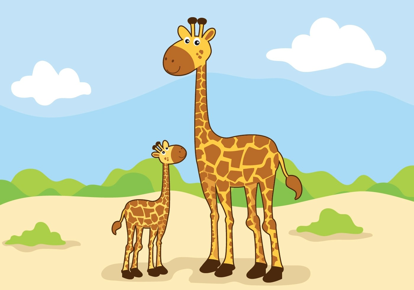 Animal Mom And Baby Vector Illustration