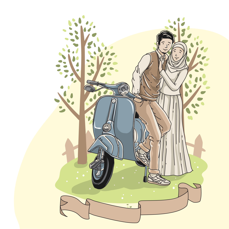 Muslim Wedding Couple Cartoon Png 6