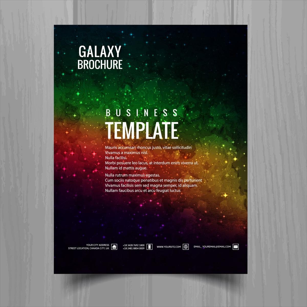 Galaxy Universe Brochure Template Design Vector Download