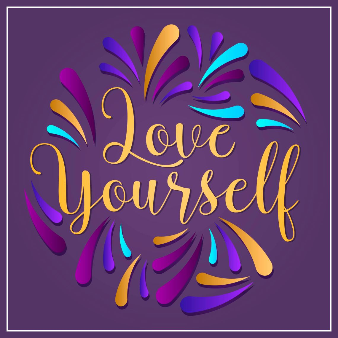 Download Flat Love Yourself Lettering Typography style Vector ...