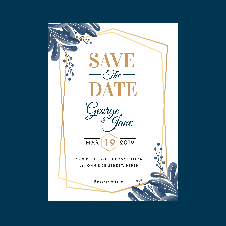 Watercolor Geometric Floral Wedding Invitation Template Download Free Vectors Clipart