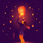 Woman Floating Taiwan Sky Lantern Download Free Vectors Clipart Graphics Vector Art