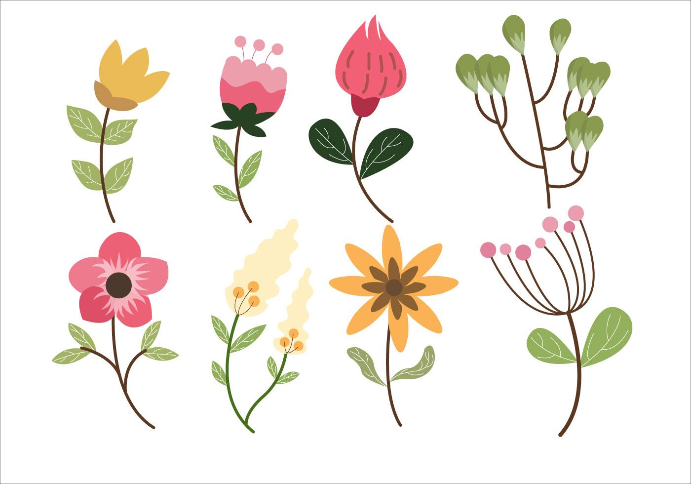 Flower Leaf Clipart Set Vector Illustration Download