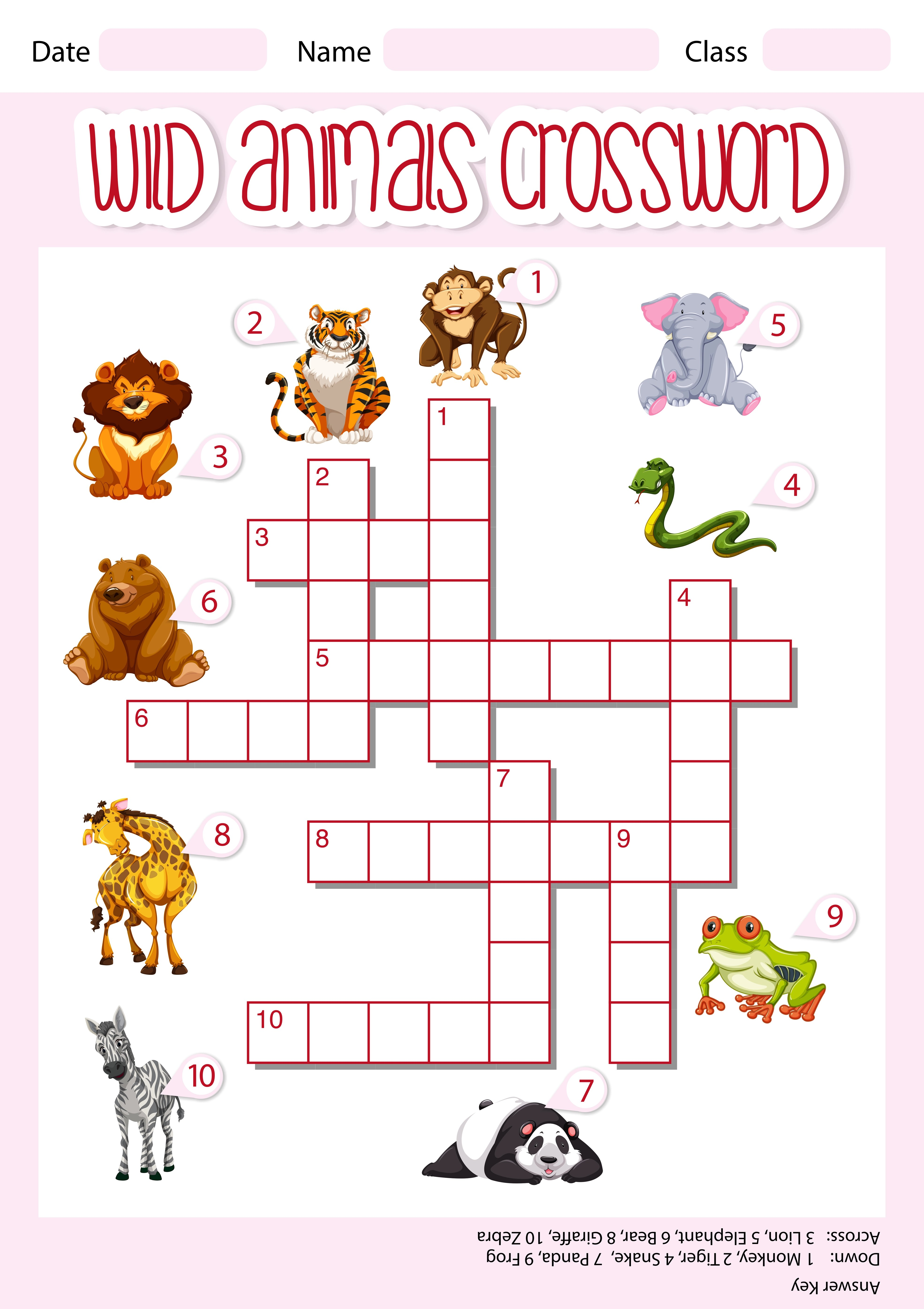 Wild Animals Crossword Template