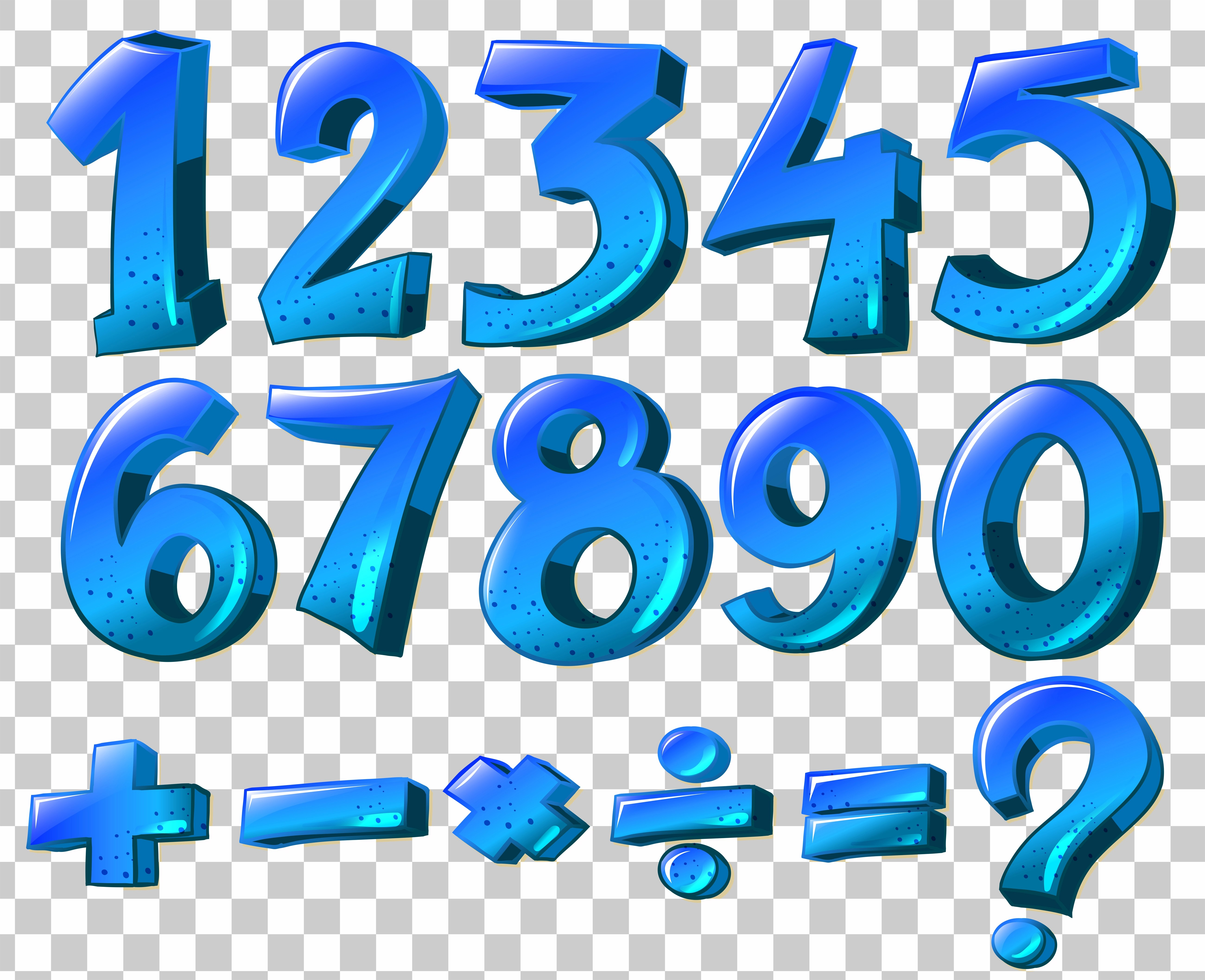 Numbers And Math Symbols In Blue Color